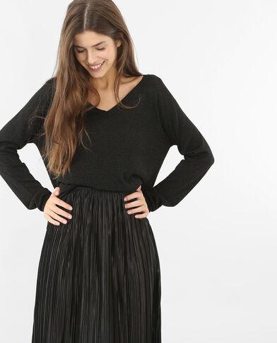 Leichter Pullover aus Lurex Schwarz