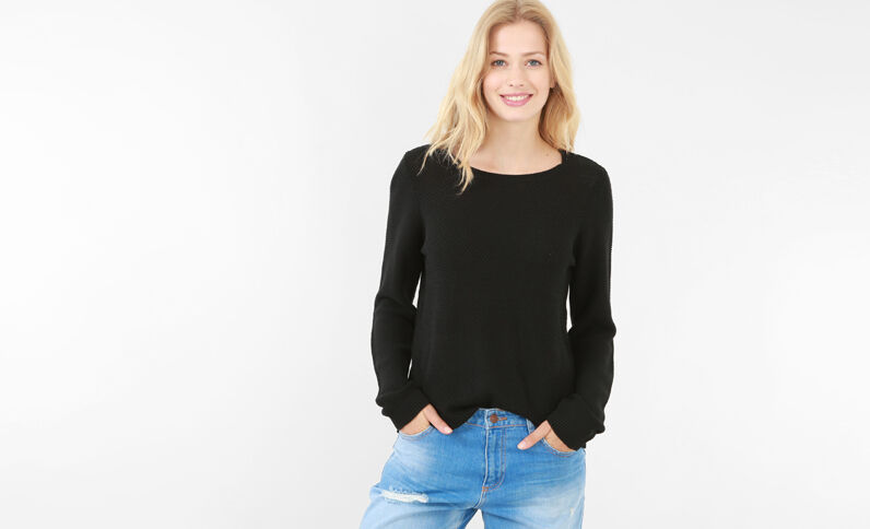 Pull multimaglia nero