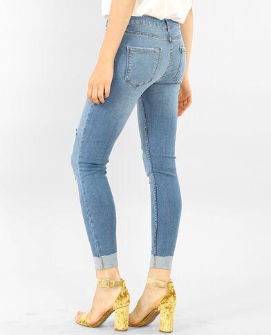 Skinny destroyed jeans met omslag denimblauw