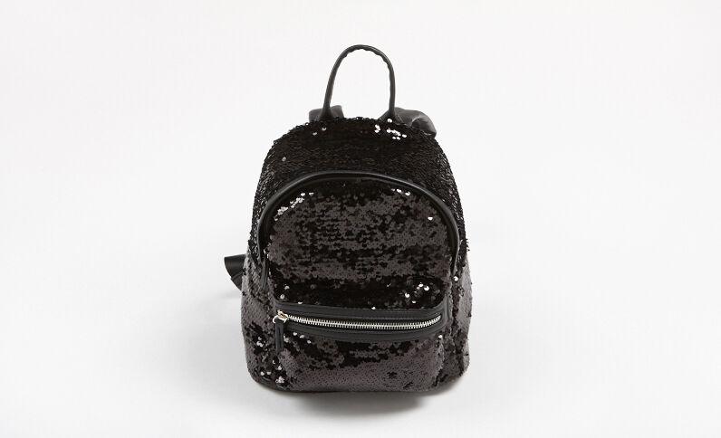 Mini sac à dos à sequins noir