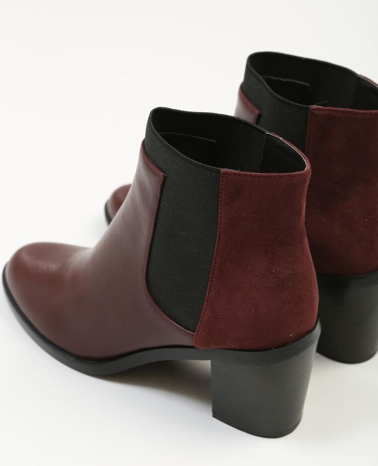 boots aus zwei materialien mit absatz granatrot 20 907146325a03 pimkie. Black Bedroom Furniture Sets. Home Design Ideas