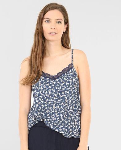 Homewear-Caraco mit Blumen-Print Indigoblau