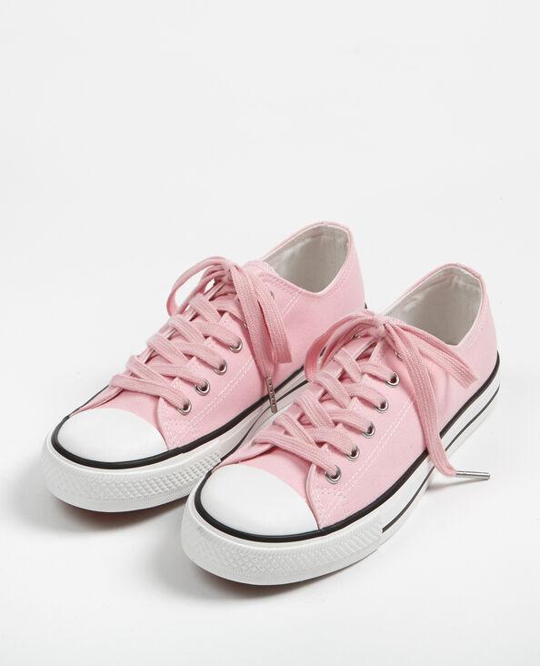 Zapatillas bajas de tela rosa maquillaje