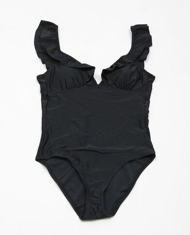 Einteiliger Badeanzug mit Rüschen Schwarz