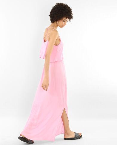 Lange jurk met gekruiste rug roze