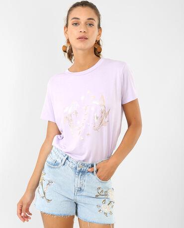 - T-shirt con stampe asiatiche parme