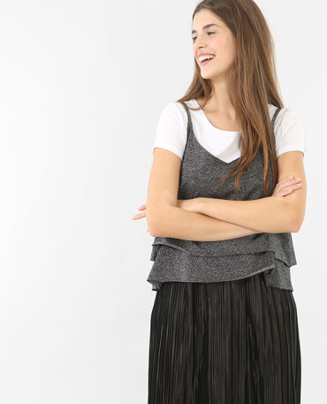 Camiseta de tirantes de lúrex negro
