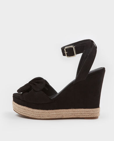 Sandalen met sleehak en strik zwart
