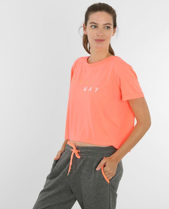 Camiseta crop de deporte naranja