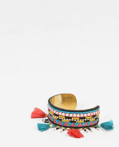 Bracciale rigido con perle e pompon turchese
