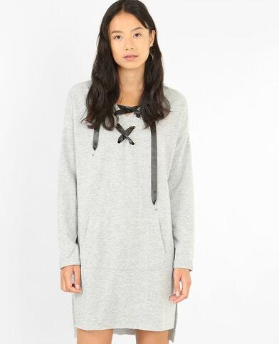 Robe pull à lacets gris chiné