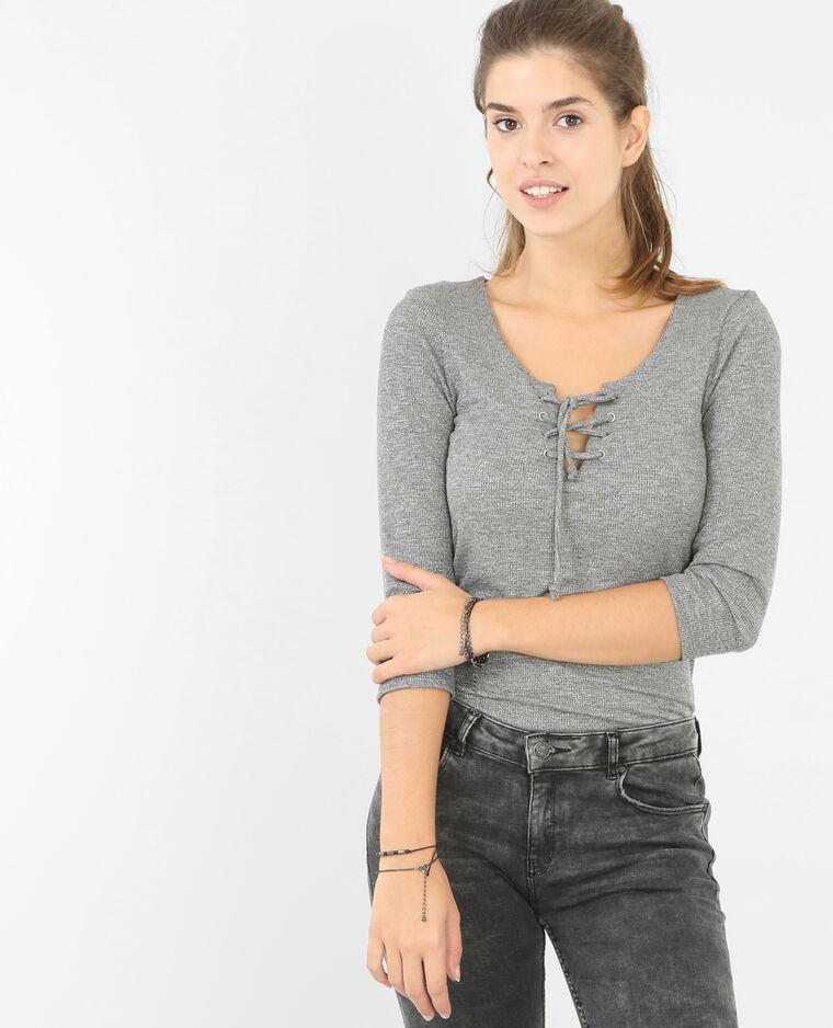 t shirt encolure lacet gris 473052817a08 pimkie. Black Bedroom Furniture Sets. Home Design Ideas