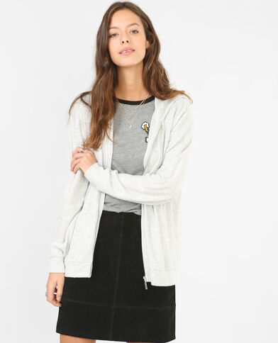 Sweat zippé doux gris chiné