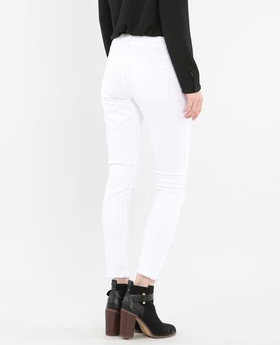 Ausgefranste Skinny-Jeans Naturweiß