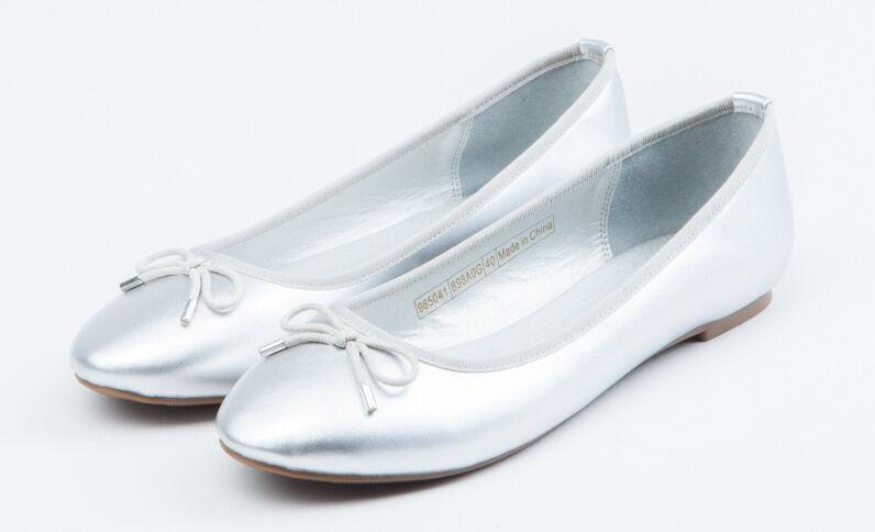 Metallic ballerina's zilvergrijs