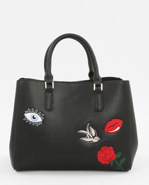 Bolso cabás bordado parches negro