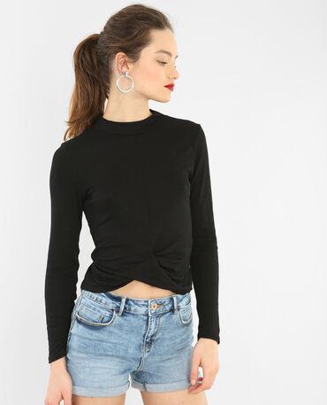 T-shirt bas twisté noir