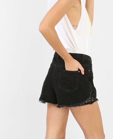 Short en jean à œillets noir