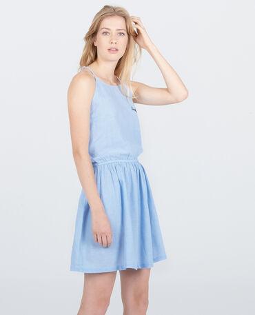 Robe beachwear brodée Bleu