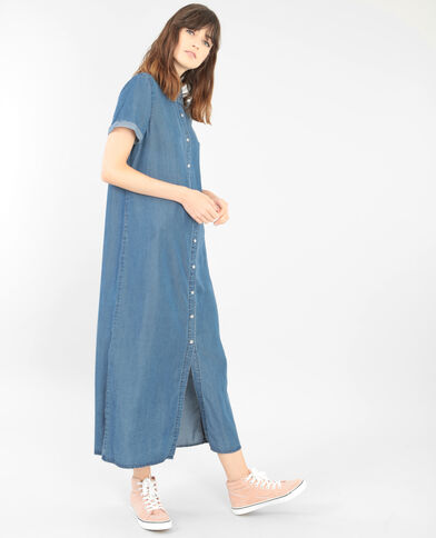 Vestido camisero largo azul