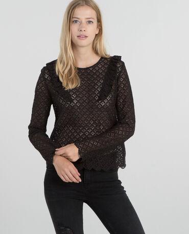 Blusa de encaje negro