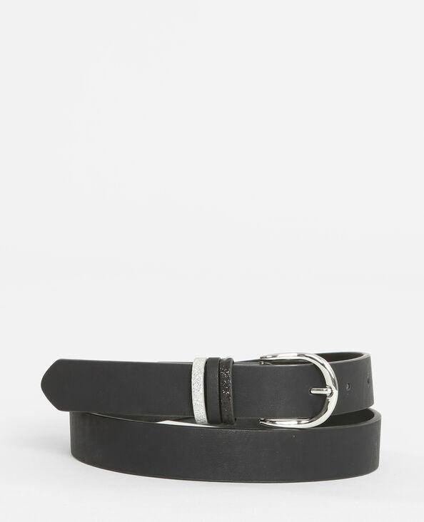 Cinturón con presillas de glitter negro