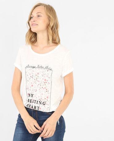 Verspieltes T-Shirt Altweiß