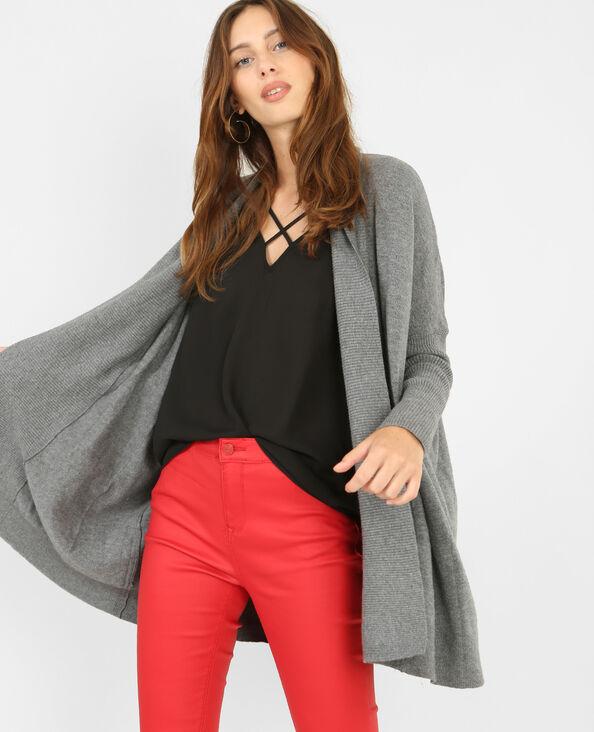 Lange Jacke mit Zipfeln Grau