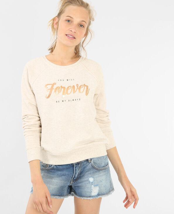 Sweatshirt mit Schriftzug Beige