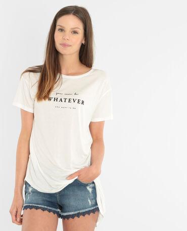 Asymmetrisches T-Shirt mit Schriftzug Altweiß