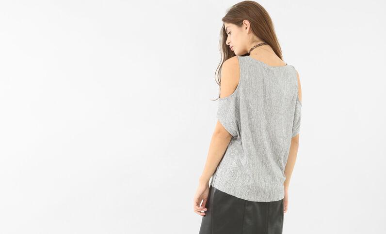 Camiseta cut out metalizada gris brillante