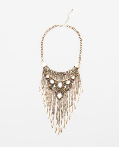 Brede halsketting met glittersteentjes goudkleurig