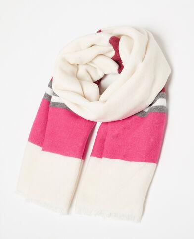 Großer Schal mit Gewebestreifen Weiß