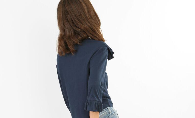 T-shirt à volants bleu marine