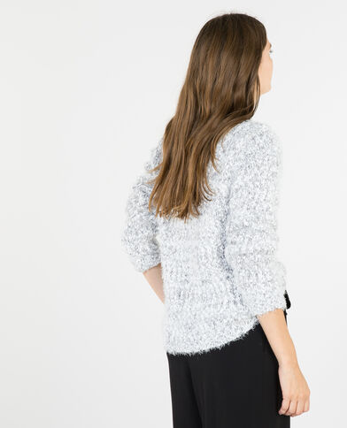 Pull maille popcorn gris