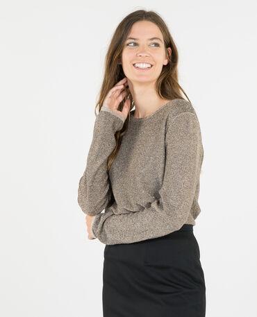 Lurex-Pullover mit Materialmix Beige