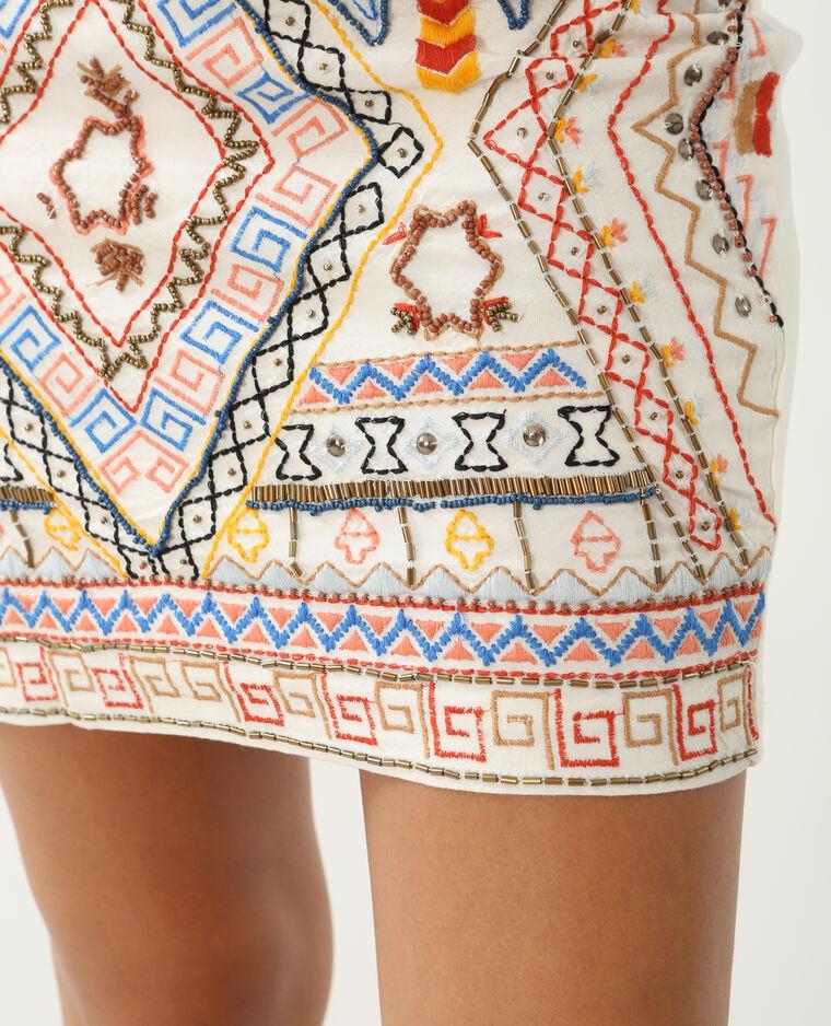 Mini jupe brodée écru