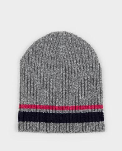 Mütze mit Farbstreifen Grau