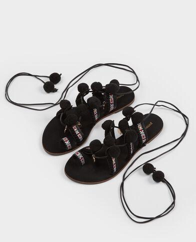 Sandales ethniques à pompons noir