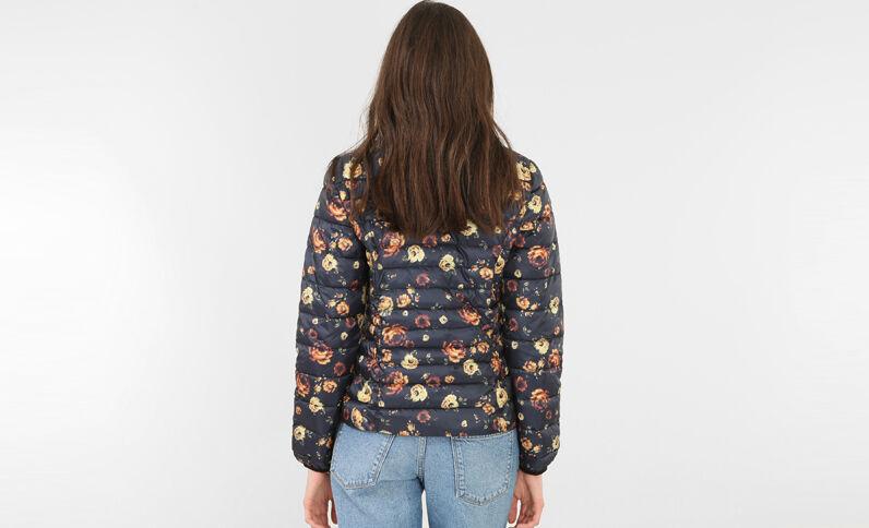 Lichte gewatteerde jas met print zwart