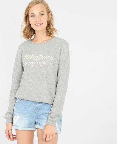 Sweatshirt mit Schriftzug Grau meliert