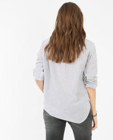 Camisa de popelín a rayas marfil