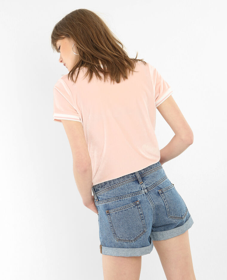 T-shirt velours rose