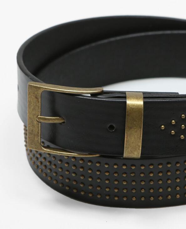 Schwarzer Gürtel mit kleinen goldfarbenen Nieten Schwarz