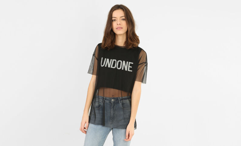 Top cropped doublé tulle noir