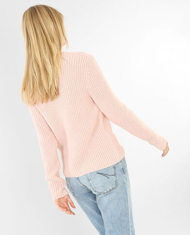 Pull col montant rose
