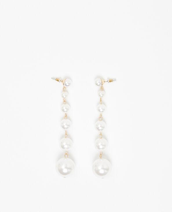Perlen-Ohrringe Altweiß