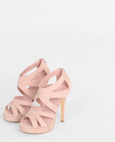 Sandalias de tacón con múltiples tiras rosa maquillaje