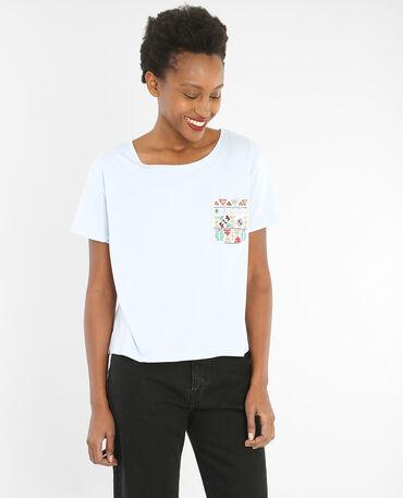 T-Shirt mit Perlen und Spiegelchen an der Tasche Himmelblau