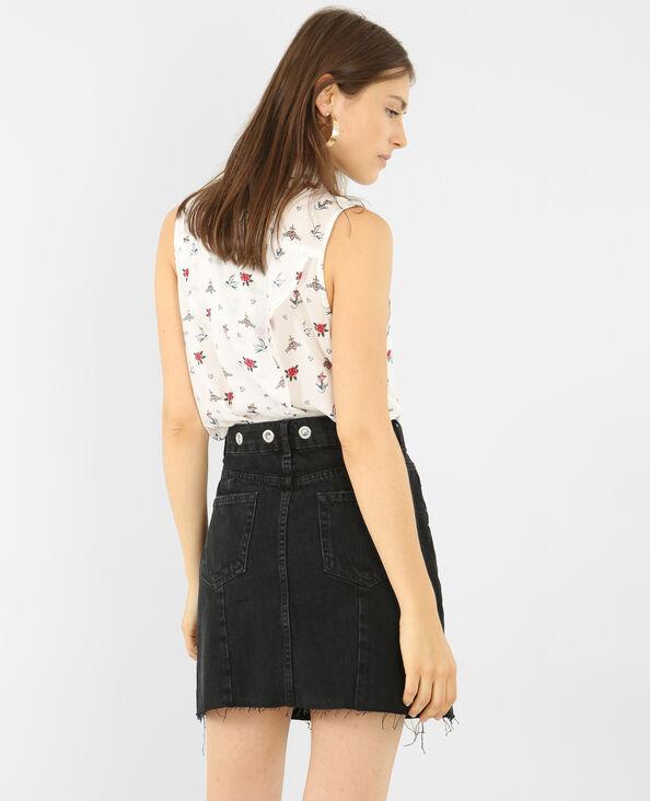 Bedrukt hemd met split achteraan wit